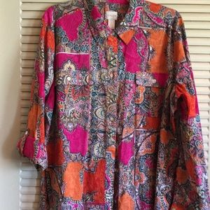 Chico's 3 All Cotton Boho Button Up Blouse